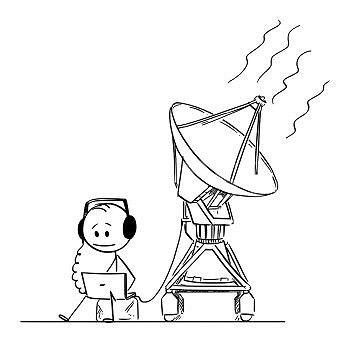 Image Details Ist 17050 05499 Vector Cartoon Stick Figure Drawing Conceptual Illustration Of Man Or Scientist Watching And Hearing Alien Space Signal From Nasa Seti Antenna Vector Cartoon Of Man Or Scientist Hearing