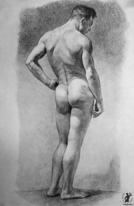 Drawing In The High Art School book - pencil nude man pose back