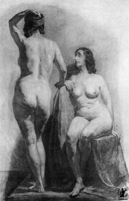 Drawing In The High Art School book - two nude woman poses