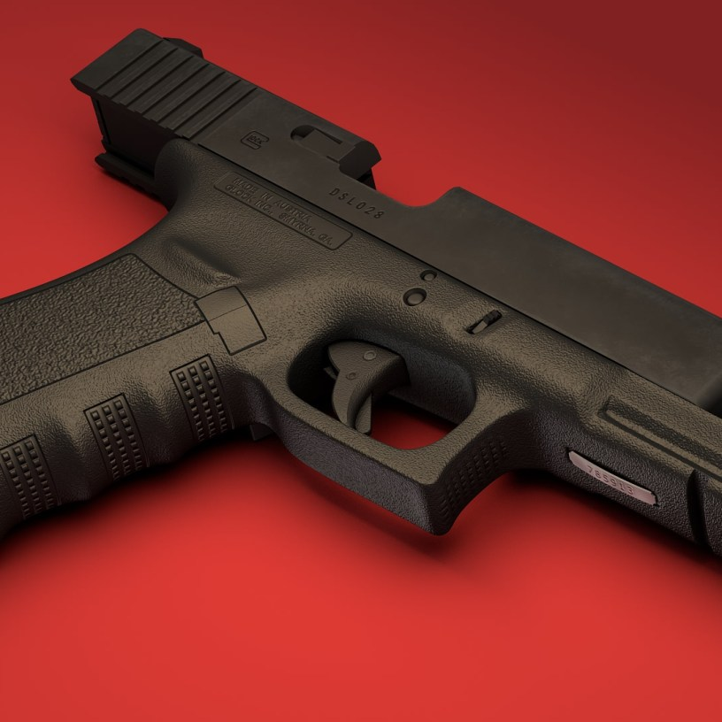 3d model of Glock 17 pistol 02