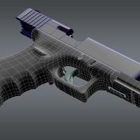 3d model of Glock 17 pistol wireframe