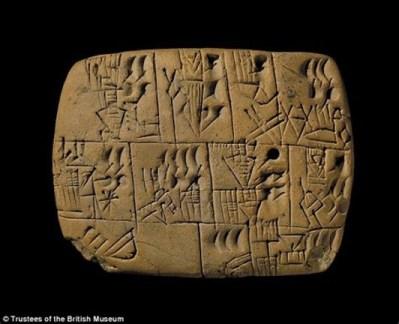 Sumerská klinopisná tabuľka z Uruku (c. 3000 pred n.l.)