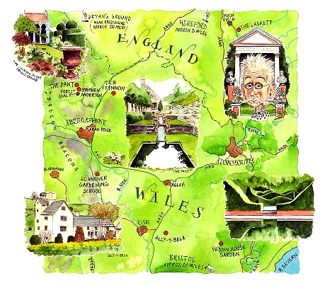 Jonty Clark's illustration of South Wales gardens for the Telegraph