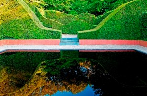 The Reflecting Pool,Veddw House Garden, The Fedw, Devauden, Monmouthshire, South Wales, Most original garden in Britain, Anne Wareham, The Bad Tempered Gardener and Charles Hawes, photographer