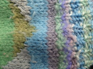Kaffe Fasset inspired knitting Veddw, Copyright Anne Wareham,