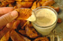Truck Stop Jo Jo Potatoes & Vegan Ranch Dressing: https://vedgedout.com/2012/12/14/truck-stop-jo-jo-potatoes-with-vegan-ranch-dressing/