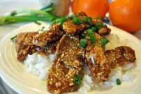 Sesame Orange Seitan: https://vedgedout.com/2013/03/14/meaty-cravings/