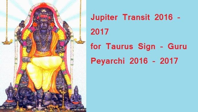 Jupiter Transit (Guru Peyarchi) 2016 - 2017 - Rishaba Rasi