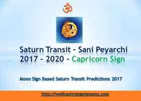 Satunr Transit 2017 - 2020 for Capricorn Sign - Sani Peyarchi Plalangal 2017 for Makara Rasi