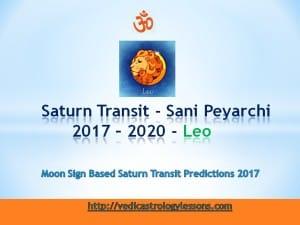 Satunr Transit 2017 - 2020 for leo Sign - Sani Peyarchi Plalangal 2017 for Simha Rasi