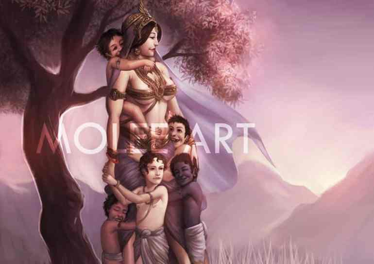 Kunti and Pandavas