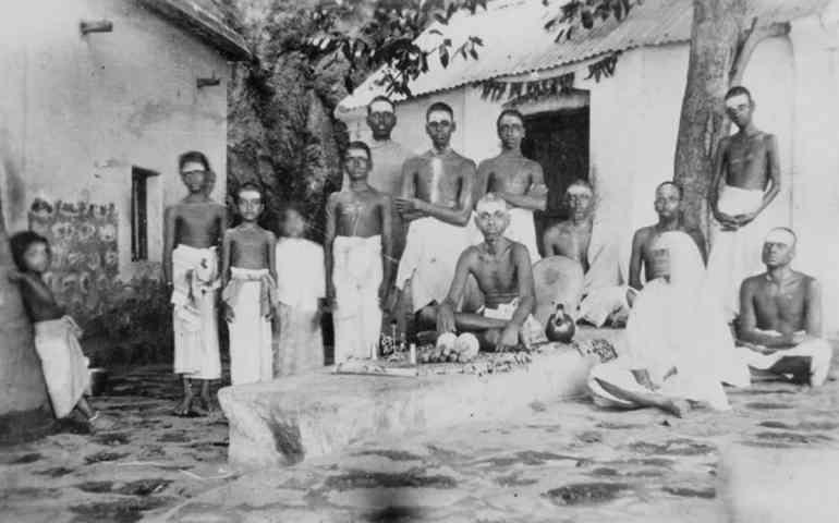 Sri Bhagavan at Skandashram with Mother Alagammal