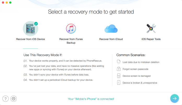Access the Recover from iOS Device option