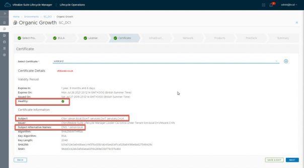 vRA deployment SSL issue LCMVRAVACONFIG590003 wild card cert