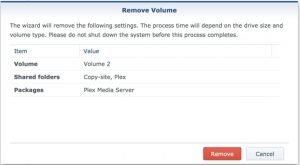 synology remove volume2