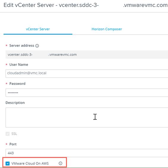 Horizon on VMC Connection Broker Add vCenter