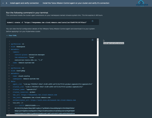Tanzu Mission Control Attach Clusters Install Agent and Verify Connection View Yaml