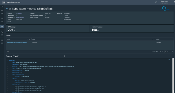 Tanzu Mission Control Openshift Cluster Namespaces Namespace Workload details