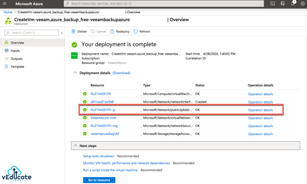 Veeam Azure Deploy from Marketplace Complete