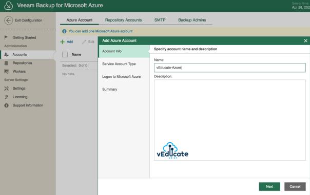 Veeam Azure Getting started Add Microsoft Azure Account Wizard Account info