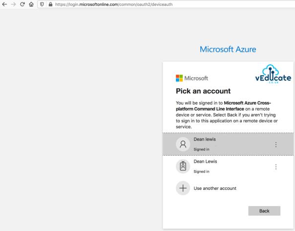 Veeam Azure Getting started Add Microsoft Azure Account Wizard Logon to Microsoft Azure Pick An Account