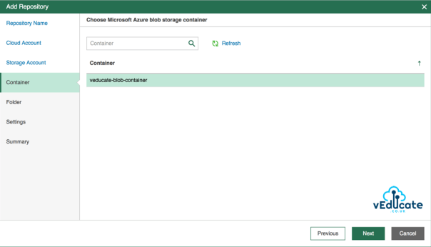 Veeam Azure Getting started Add Repository accounts Choose Microsoft Azure Blob Storage Container