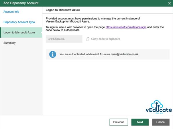 Veeam Azure Getting started Add Repository accounts Logon to Microsoft Azure