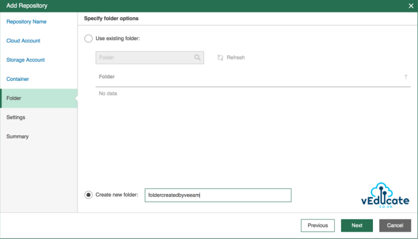 Veeam Azure Getting started Add Repository accounts Specify folder options