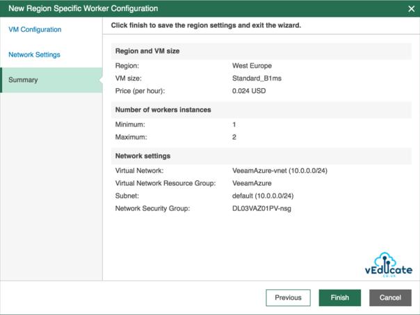 Veeam Backup for Azure Deploy a Worker VM Add Worker Summary