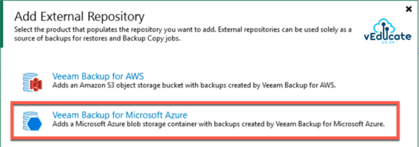 Veeam Backup for Azure Integration with Veeam Backup and Replication Add external repository 2