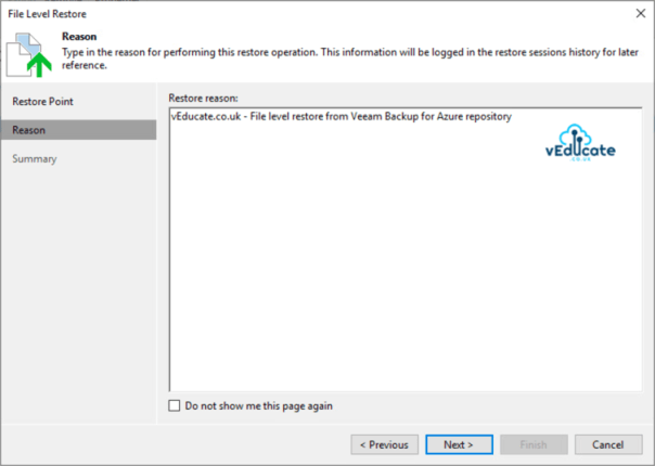 Veeam Backup for Azure Integration with Veeam Backup and Replication File Level Recovery Restore guest files Reason