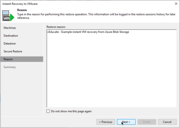 Veeam Backup for Azure Integration with Veeam Backup and Replication Instant VM Recovery Restore Reason