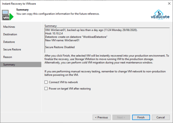 Veeam Backup for Azure Integration with Veeam Backup and Replication Instant VM Recovery Restore Summary
