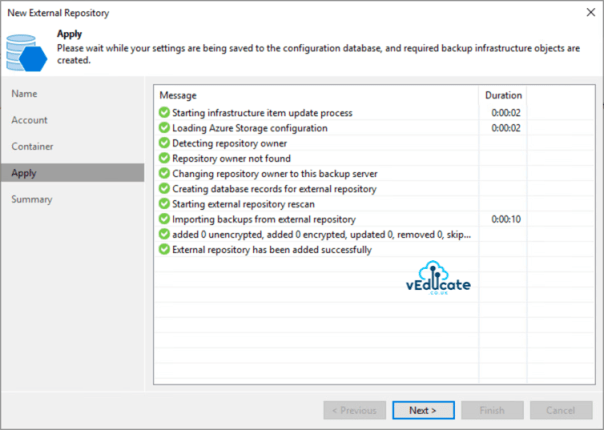 Veeam Backup for Azure Integration with Veeam Backup and Replication New external repository Apply