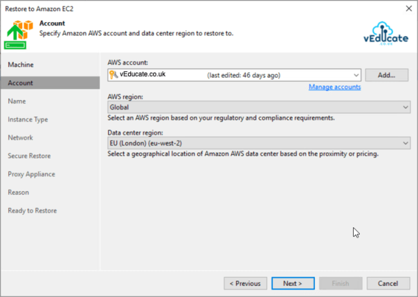Veeam Backup for Azure Integration with Veeam Backup and Replication Restore to Amazon EC2 Specify Account