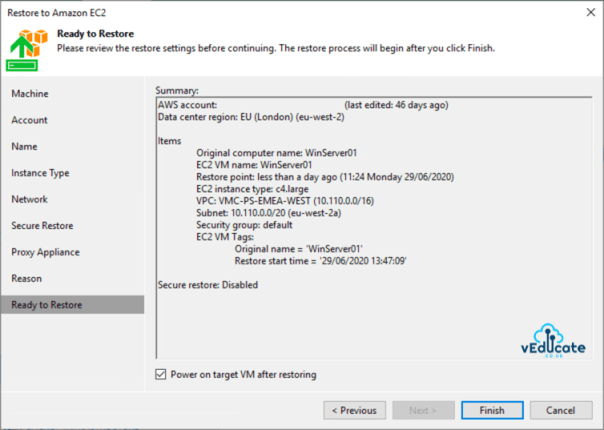 Veeam Backup for Azure Integration with Veeam Backup and Replication Restore to Amazon EC2 Summary