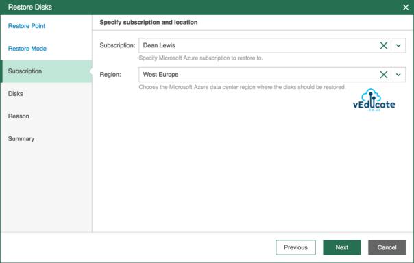 Veeam Backup for Azure Restore Virtual Machine Hard Disk Restore Mode Subscription