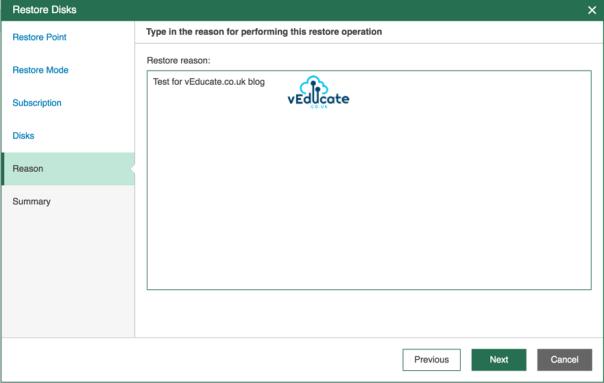 Veeam Backup for Azure Restore Virtual Machine Hard Disk Restore Reason