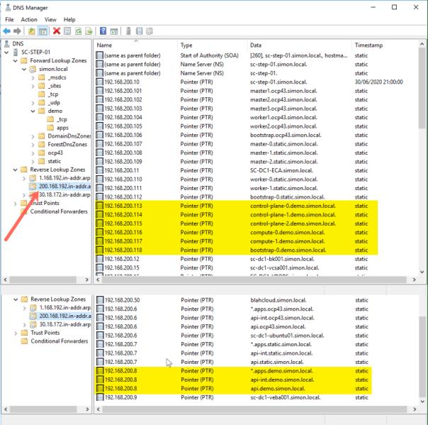 Deploy OpenShift VMware Static IP Configure Reverse DNS Records