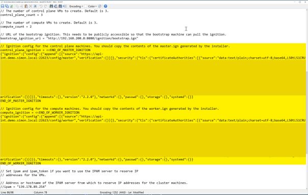 Deploy OpenShift VMware Static IP configure terraform.tfvars file2