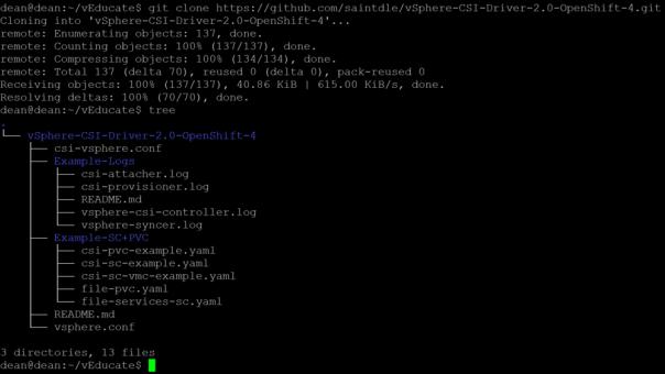 vSphere CSI OpenShift git clone