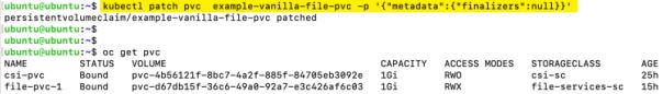 Kubernetes pvc terminating kubectl patch pvc