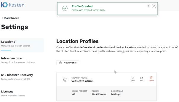 Kasten Create Location profile azure profile created