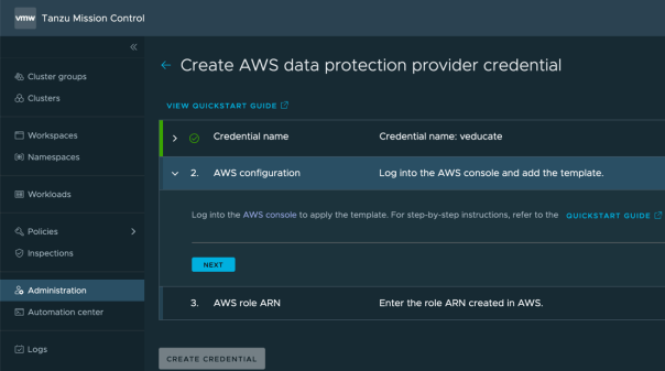 TMC Data Protection Create AWS Data protection credential log into the AWS console