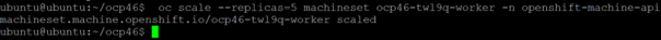 oc scale machineset