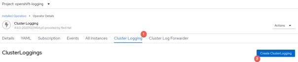 Openshift OperaterHub Create Cluster Logging Instance