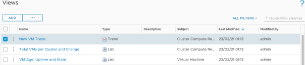 Tracking Total VMs deployed and Growth Trend vROPS views