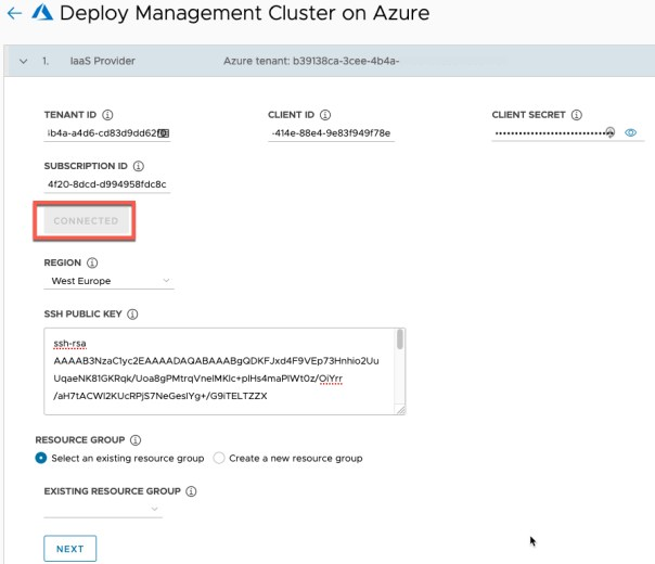 Deploy Management cluster to Azure IaaS Provider