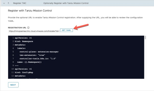 Deploy Management cluster to Azure Register TMC Registration URL Get Yaml