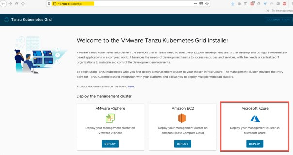 TKG UI - Deploy a management cluster on Microsoft Azure